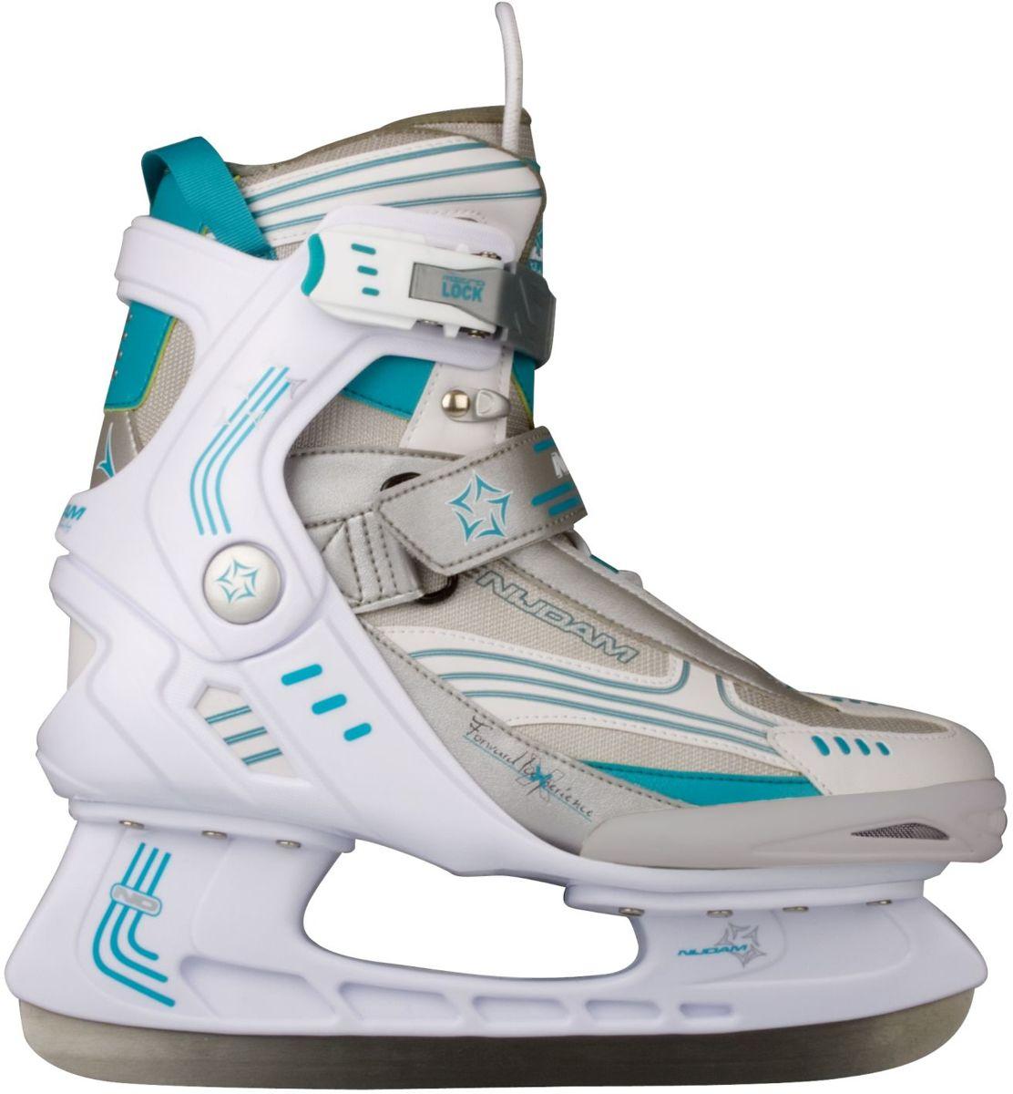 Nijdam 3353 Ijshockeyschaats - Semi-Softboot - Wit/Turquoise - Maat 37