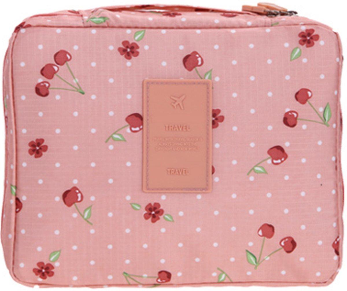 Travel 'Pink Cherry' Toilettas Roze Kersen | Make Up Organizer/Travel Bag/Reistas | Fashion Favorite kopen