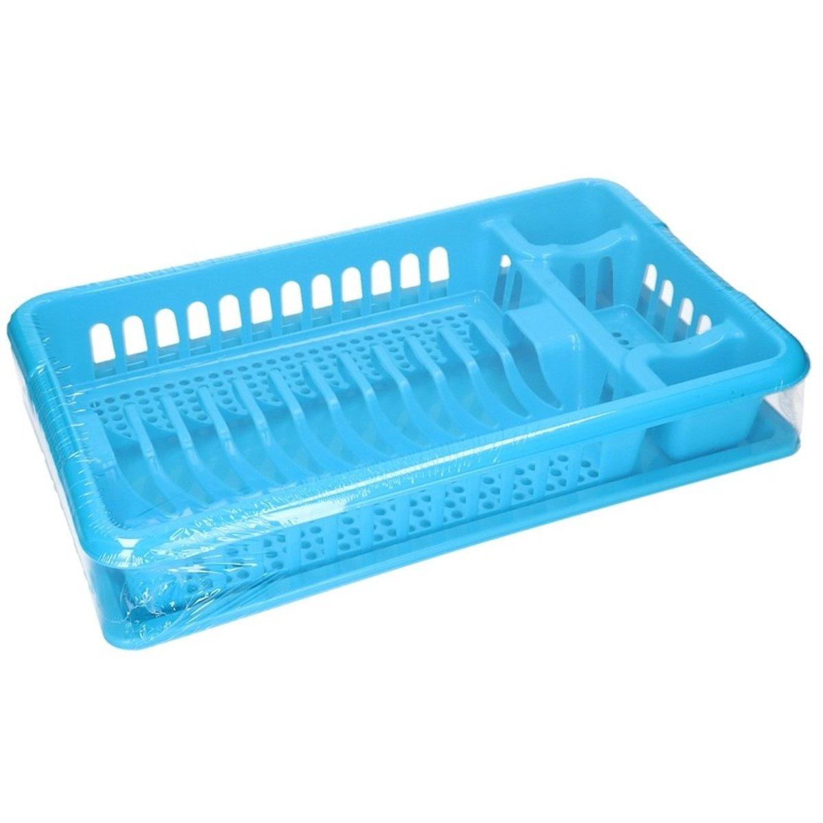 Blauw afdruiprek met lekbak 47 cm kopen