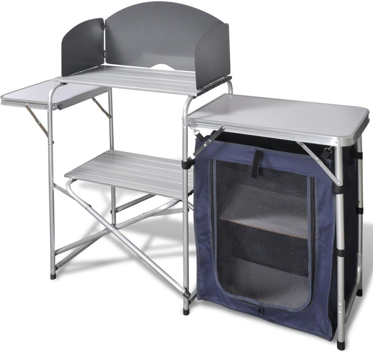 Campingkeuken inklapbaar met aluminium windscherm kopen