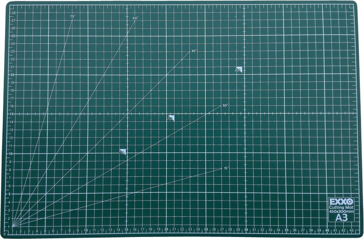 EXXO #10070 - A3 Snijmat - 5-laags zelfhelend - 2-zijdige rasterdruk - 30x45cm - 12 stuks kopen