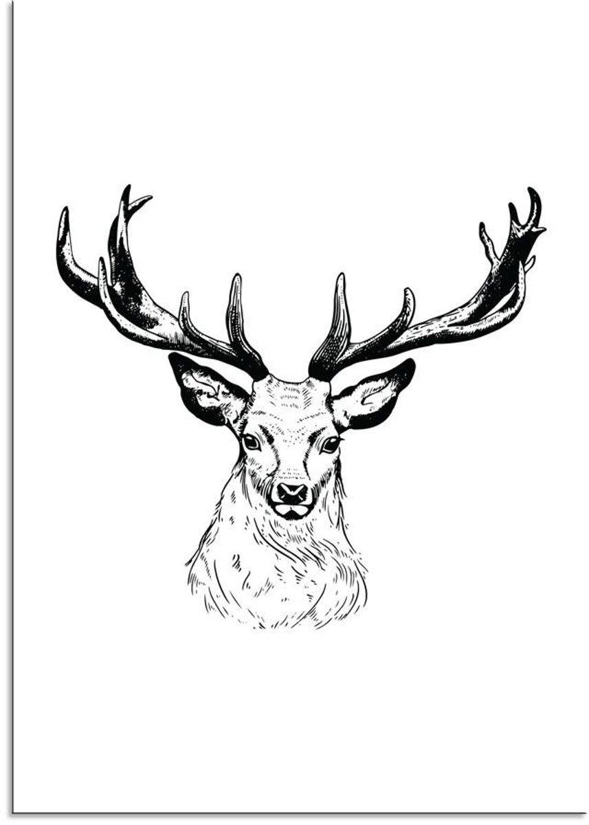 Kerst Poster Rendier Designclaud - Zwart Wit - A2 + Fotolijst wit kopen