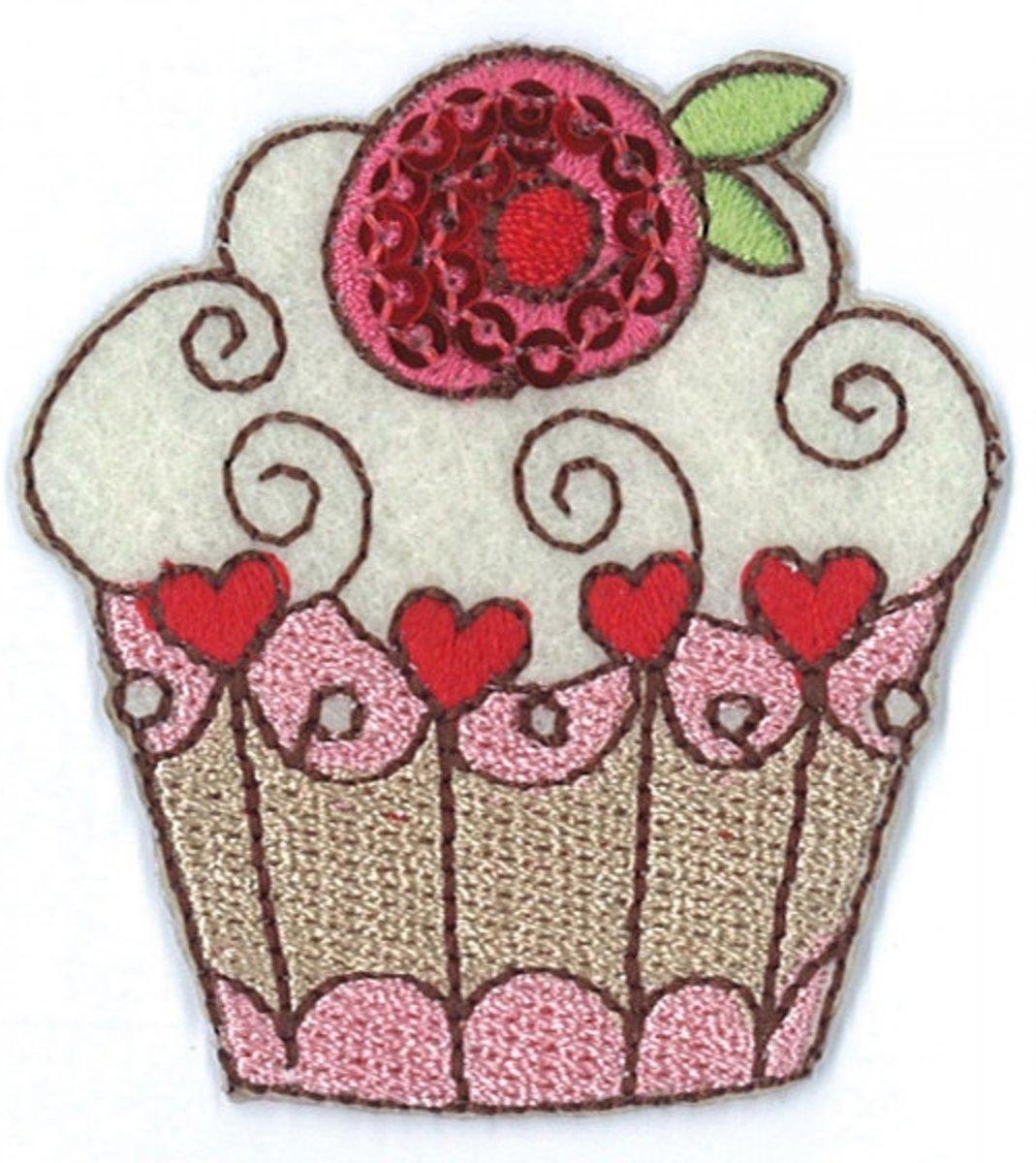 Afbeelding van product Iron on badges cupcake heart