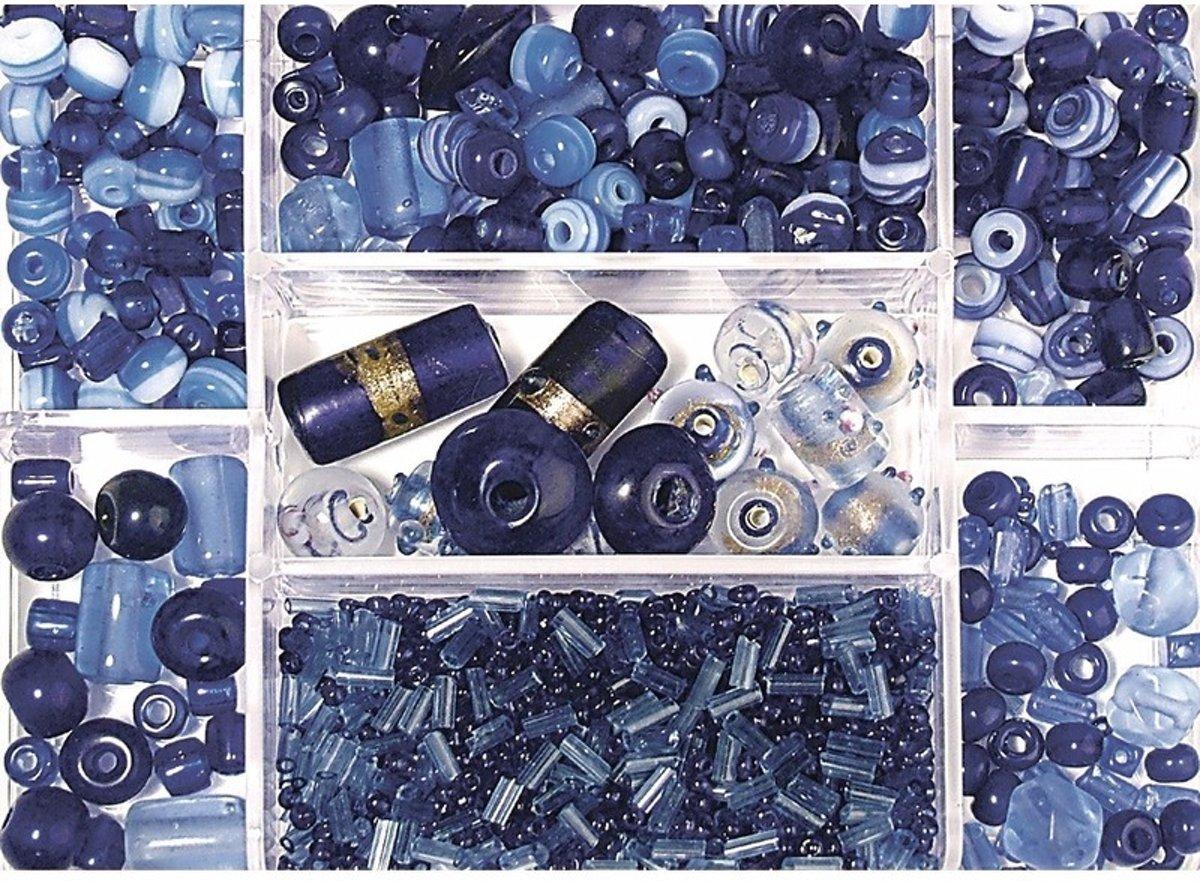 Opbergdoos donkerblauwe glaskralen 115 gram - kralen kopen