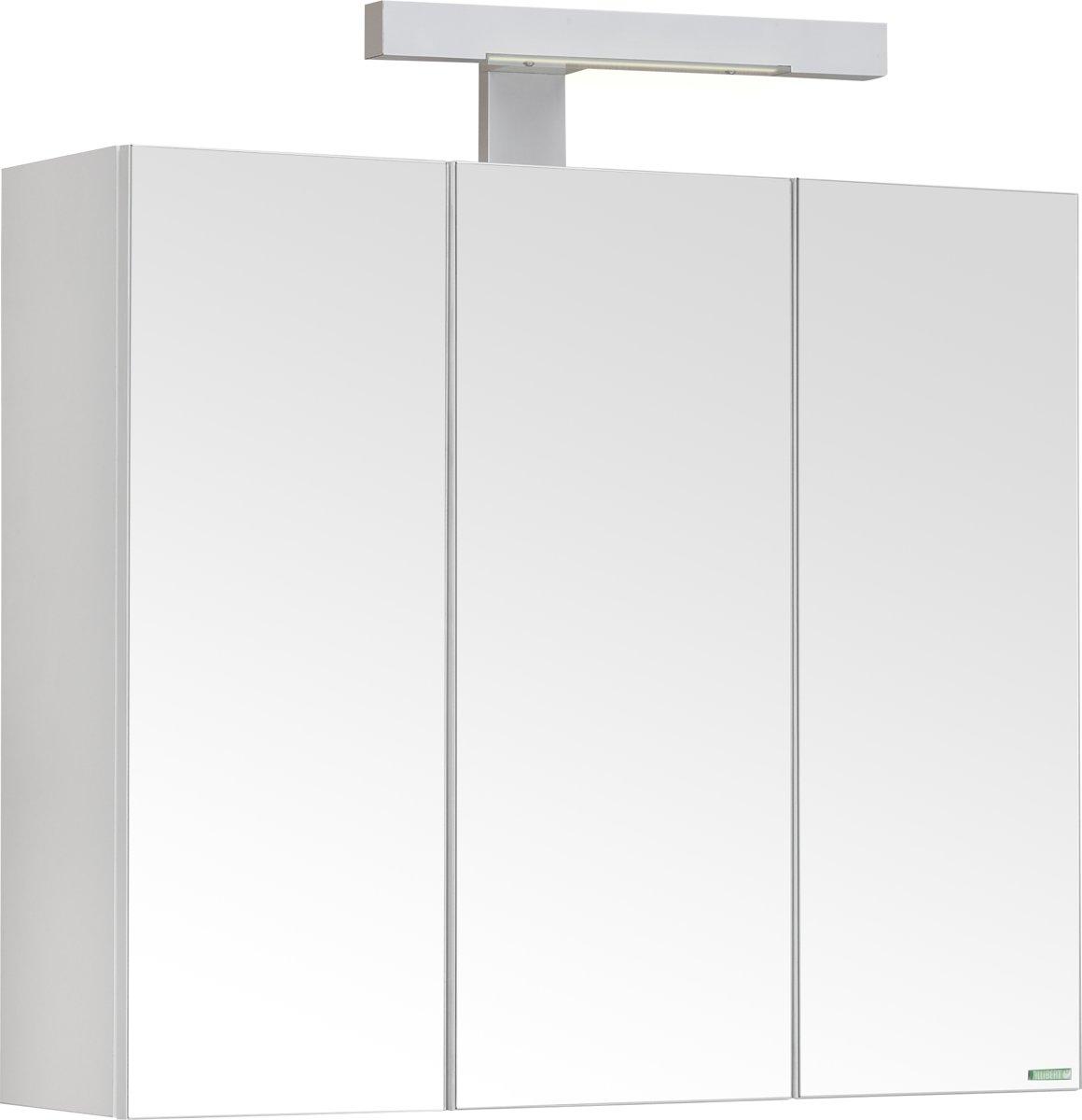 Allibert toiletkast PIAN'O - 3 spiegeldeuren - gemelamineerd hout - wit - 1 VDE (conform NED) stopcontact - 1 verlichtingsschakelaar - 60 cm breed kopen