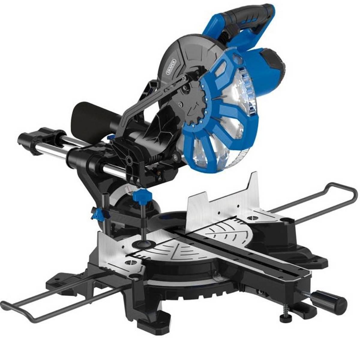 Draper 250mm 2000W 230V Glijdende Compound Mitre Saw met Laser Cutting Guide