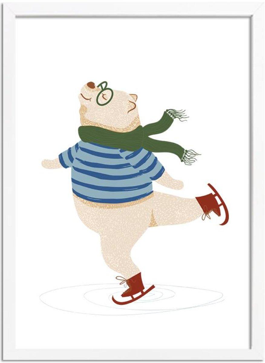 Bol Com Designclaud Kinderkamer Poster Beer Op Schaatsen Groen Rood Blauw A2 Fotolijst Wit