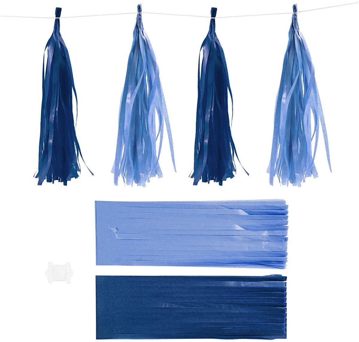 Papieren tassels, donkerblauw/lichtblauw, afm 12x35 cm,  14 gr, 12stuks [HOB-599804] kopen