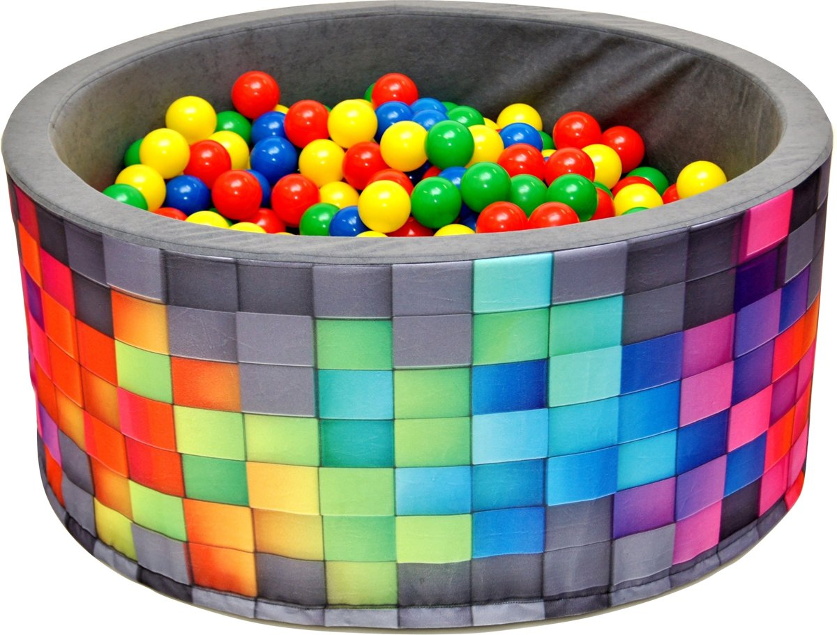 Ballenbak - stevige mozaïek print ballenbad - 90 x 40 cm - 200 ballen Ø 7 cm - rood, groen, geel en blauw