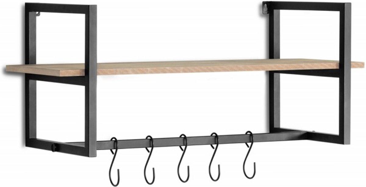 Moderne wandkapstok | zwart | wand- en muurkapstok | MDF en metaal | 28 x 70 x 29 cm