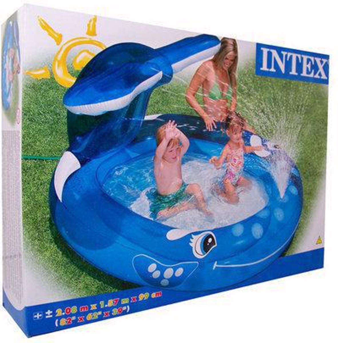 Intex zwembad walvis met spray 208x157x99cm
