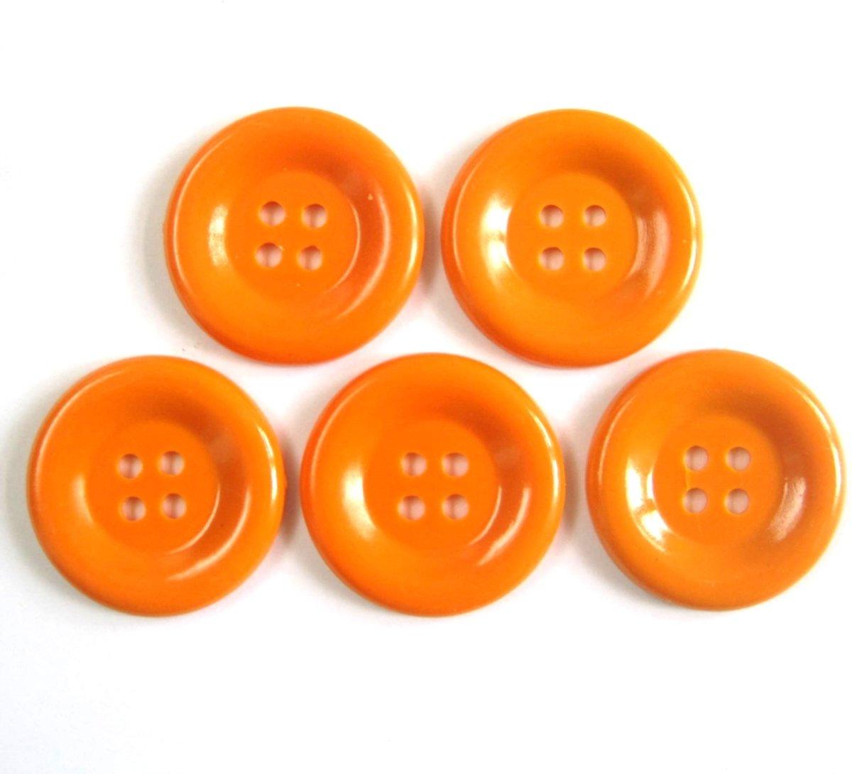 XL grote carnaval knopen 5 stuks, doorsnede 5 cm, kleur oranje kopen