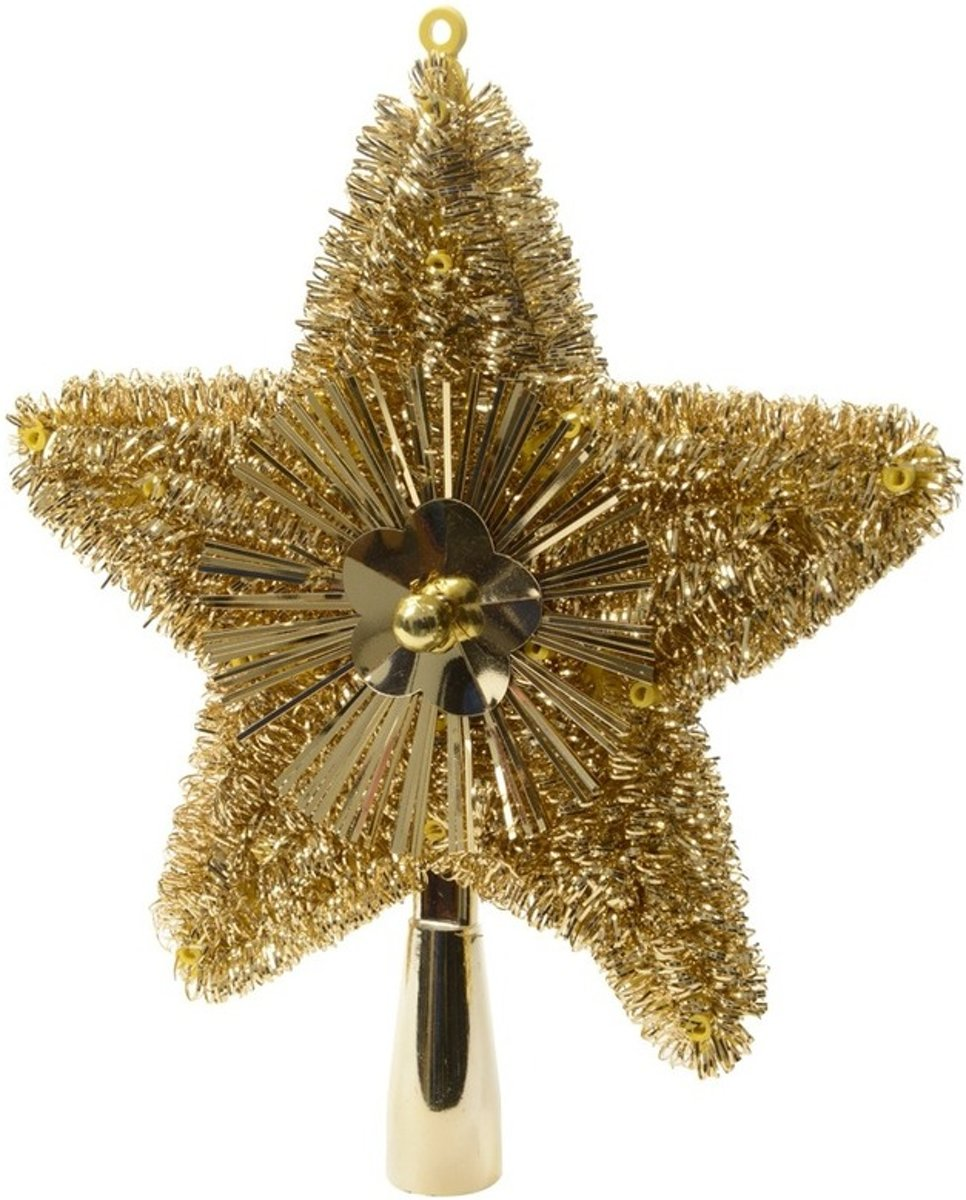 Kerstboom piek glitters goud 23 cm kopen