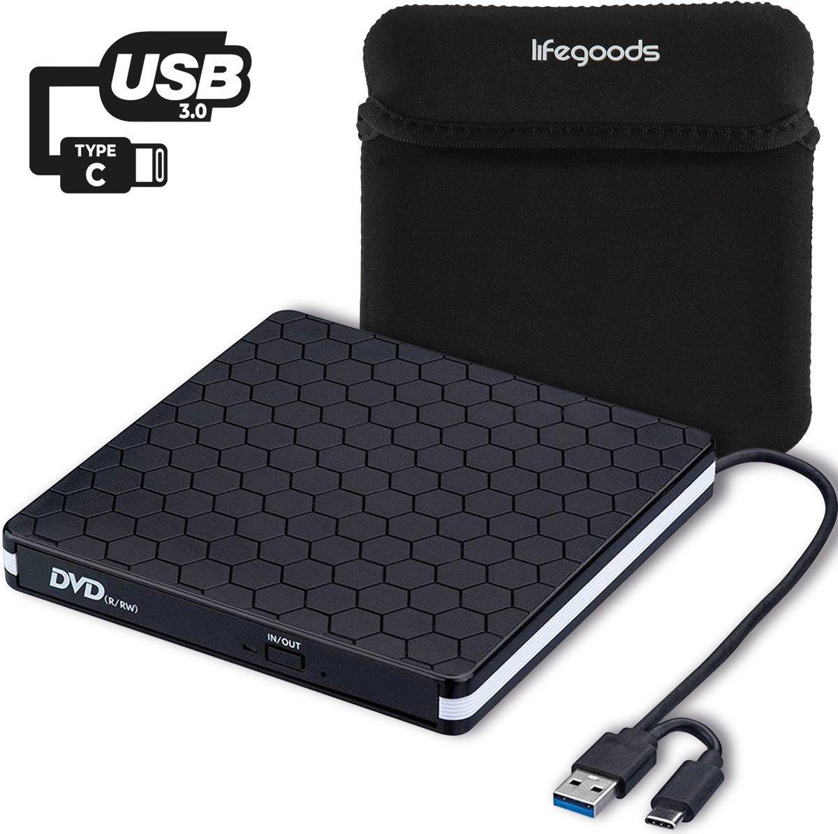 LifeGoods Externe DVD Speler en Brander - DVD/CD Drive voor Laptop of Macbook - Data en Voeding Via USB 3.0 of USB C - Inclusief Beschermhoes en Kabel - Zwart kopen