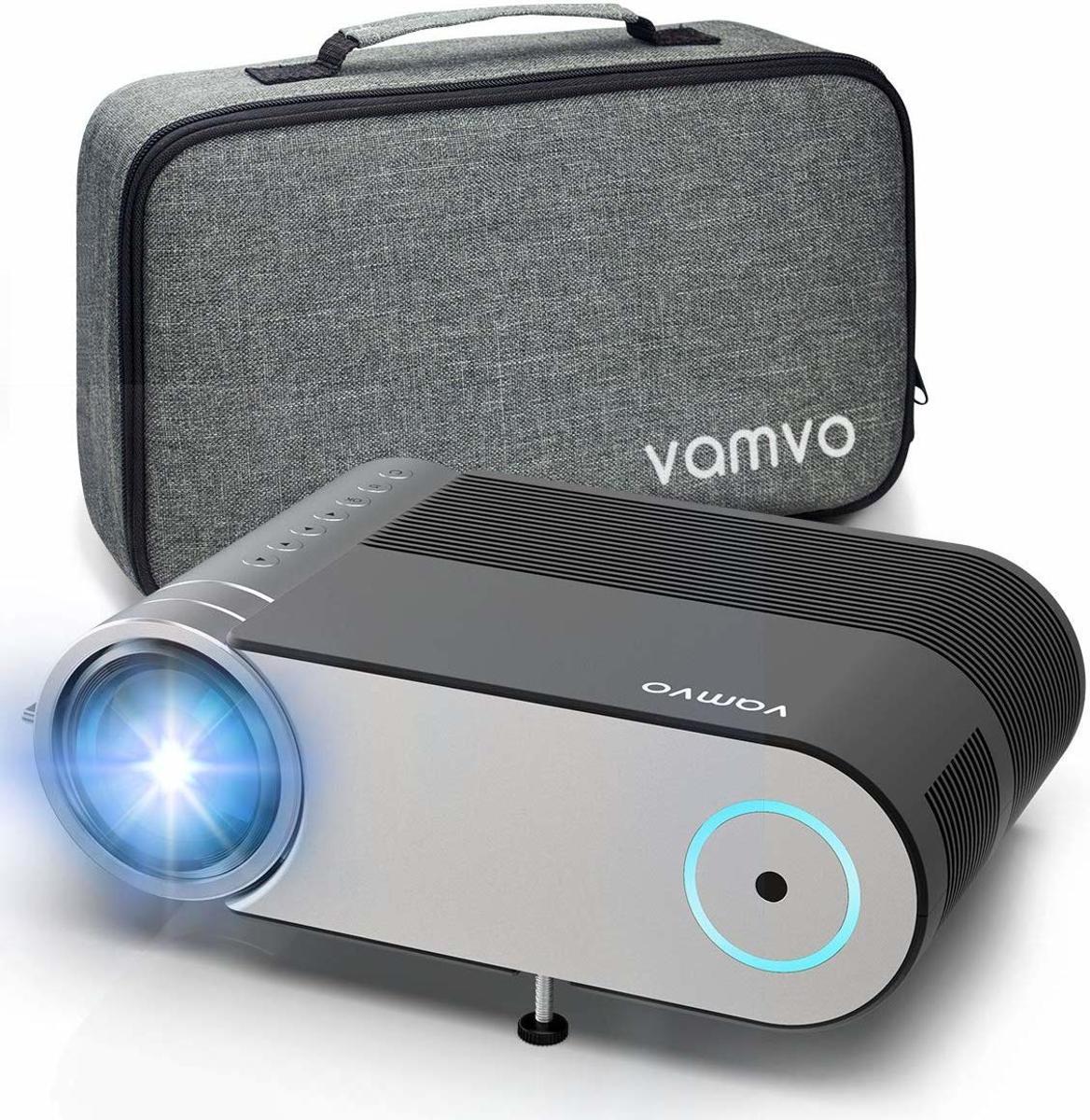 Vamvo® Mini beamer, 4000 lumen, 1280 x 720p, met draagtas, ondersteunt 1080p multimedia projector LED 50.000 uur voor onderweg of thuisbioscoop op Mobiel, PS4, XBOX ONE, Wii compatibel met HDMI/USB kopen