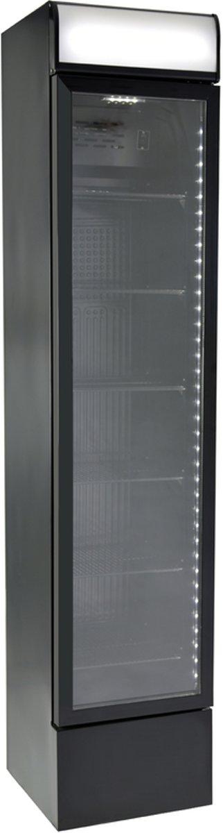 Gastro-Cool DC130 - Slimline koelkast met glazen deur 125 Liter - Zwart/Zwart/Zwart 135101 kopen