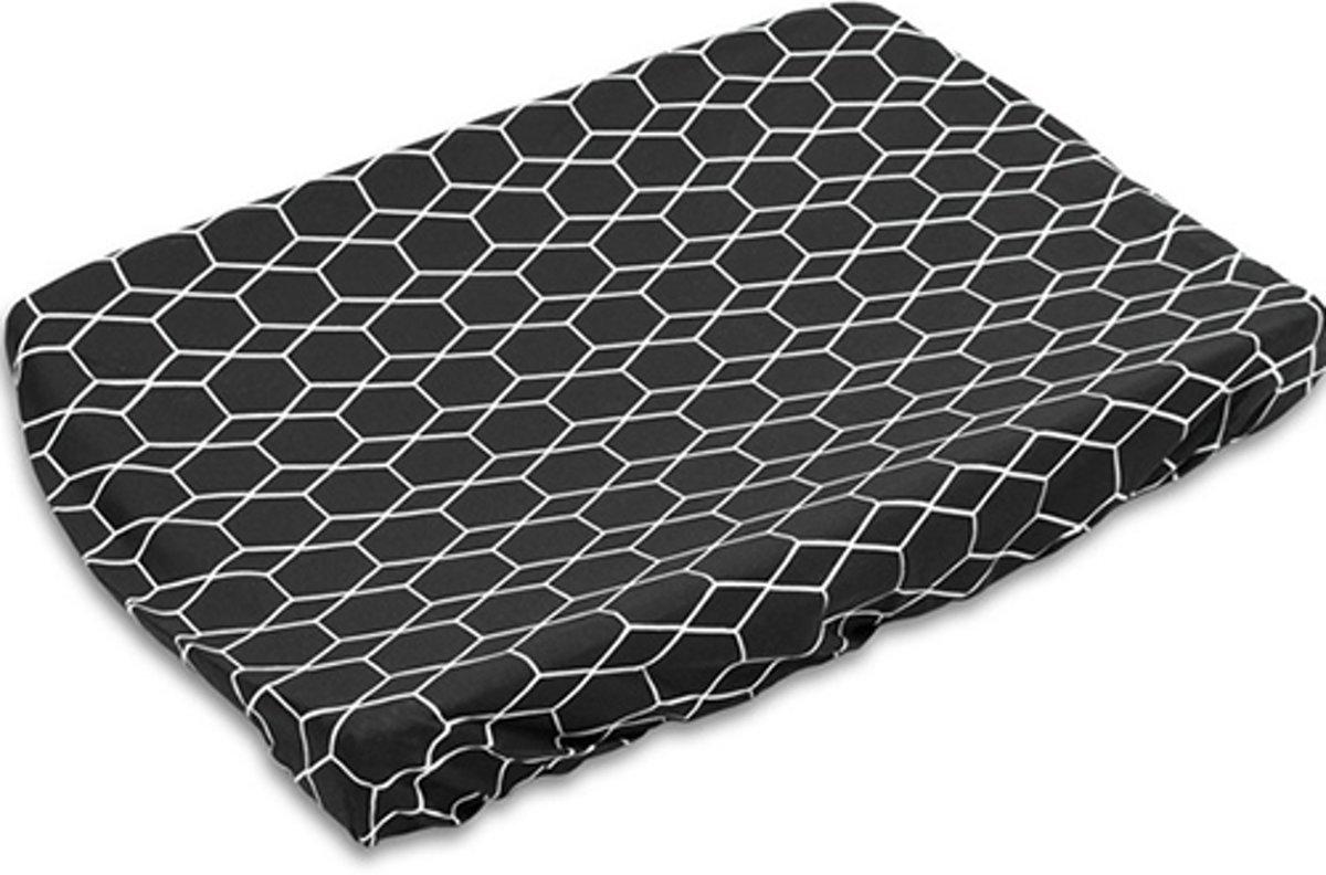 Briljant Grid Interlock Zwart Aankleedkussenhoes