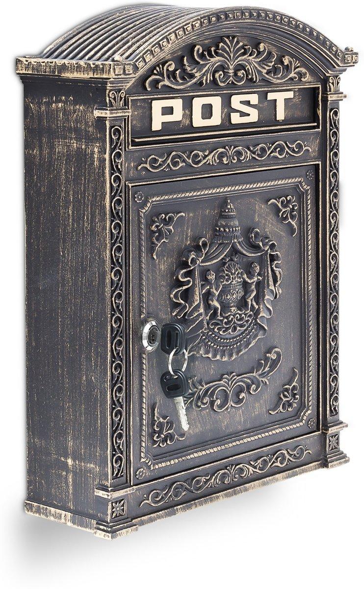relaxdays brievenbus Engelse muur-brievenbus nostalgie, A4 formaat, antiek bronzen