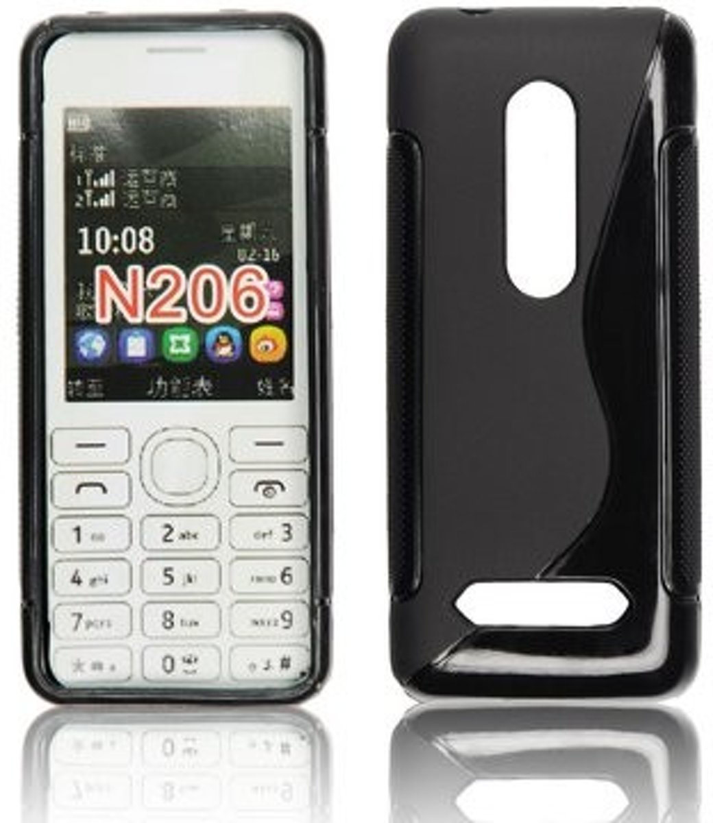 Image of Silicon Hoesje Nokia 206 S-Line Black (8719321057991)