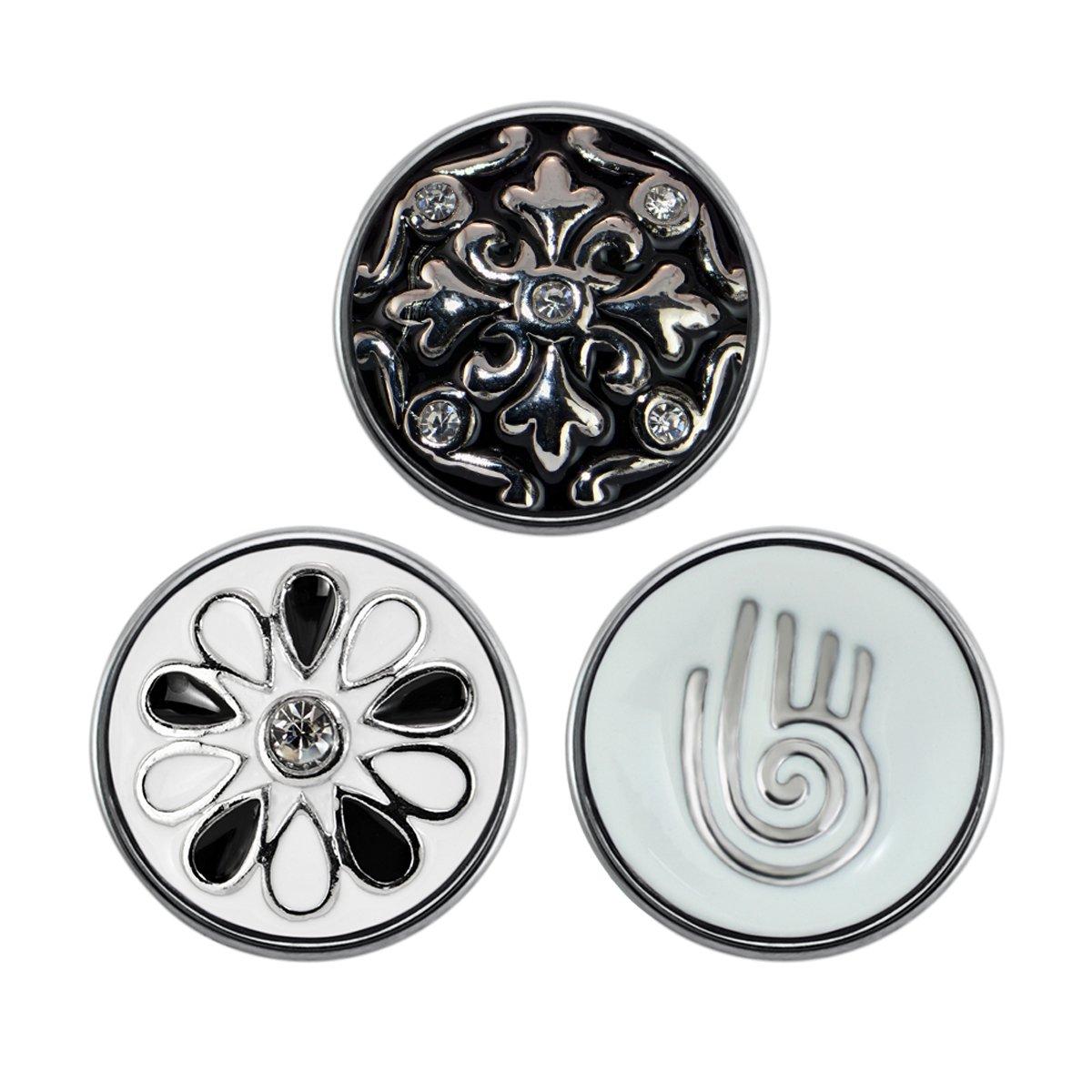 Quiges - Chunk 18mm Click Button Drukknoop Set van 3 Stuks Symbolen Wit en Zwart - EBCMSET016 kopen