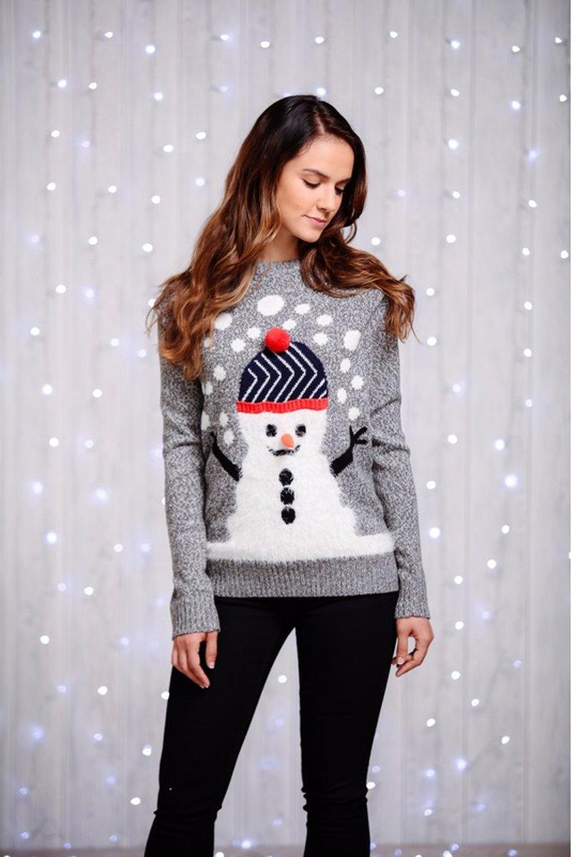 Kersttrui Dames Sneeuwpop.Bol Com Grijze Dames Kersttrui Met Sneeuwman S 36 Merkloos