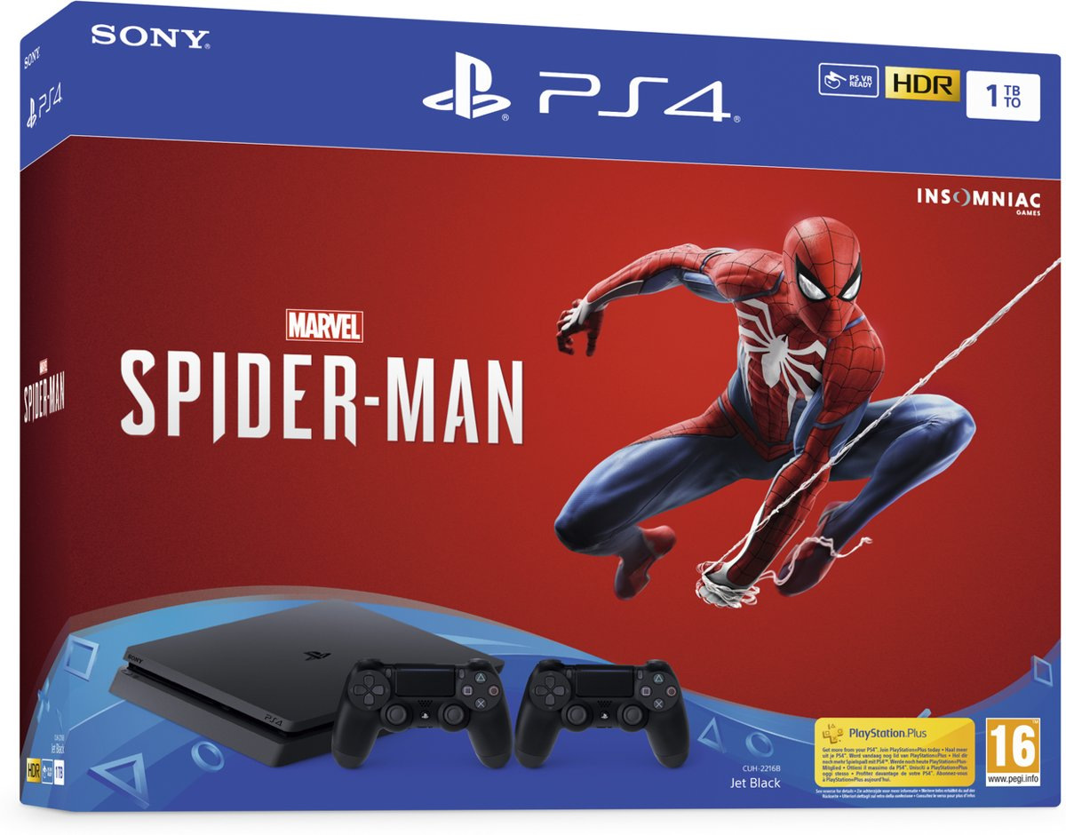 Sony Playstation 4 Slim Console - 1TB + Marvel's Spider Man + DualShock 4 Controller PlayStation 4