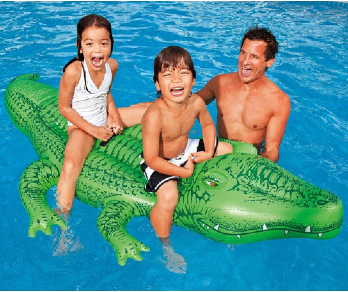 Opblaas krokodil | zwembad | opblaasfiguren | luchtbed | speelgoed | festival | strand | zee | opblaasbare dieren | luchtbedden | 168x86cm