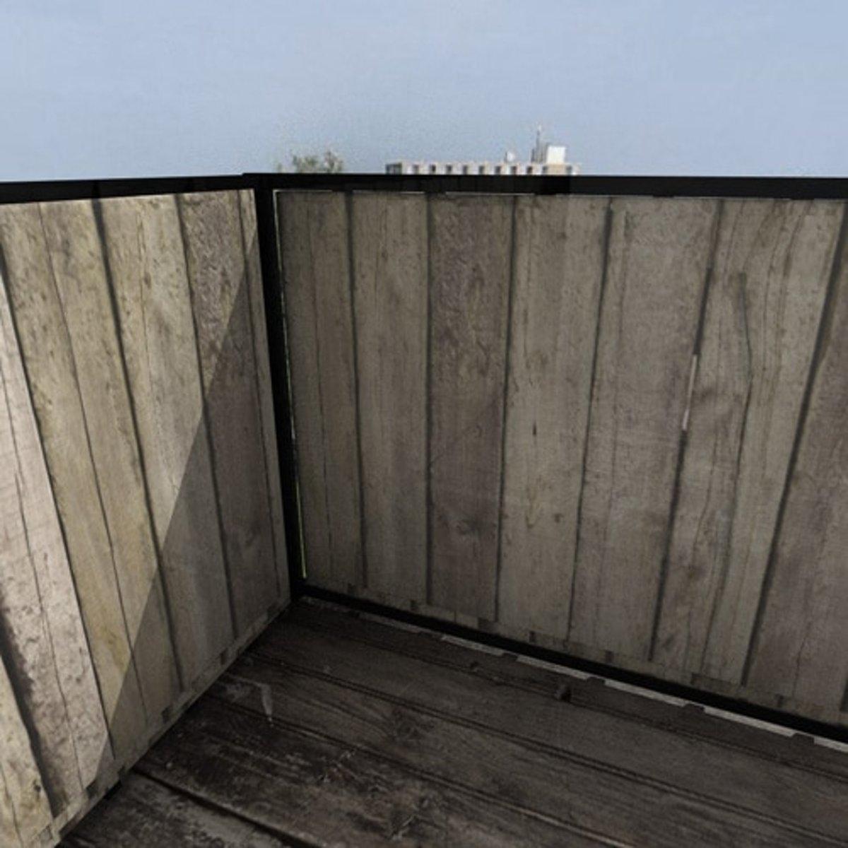 Balkonafscheiding planken verticaal (100x350cm Dubbelzijdig)