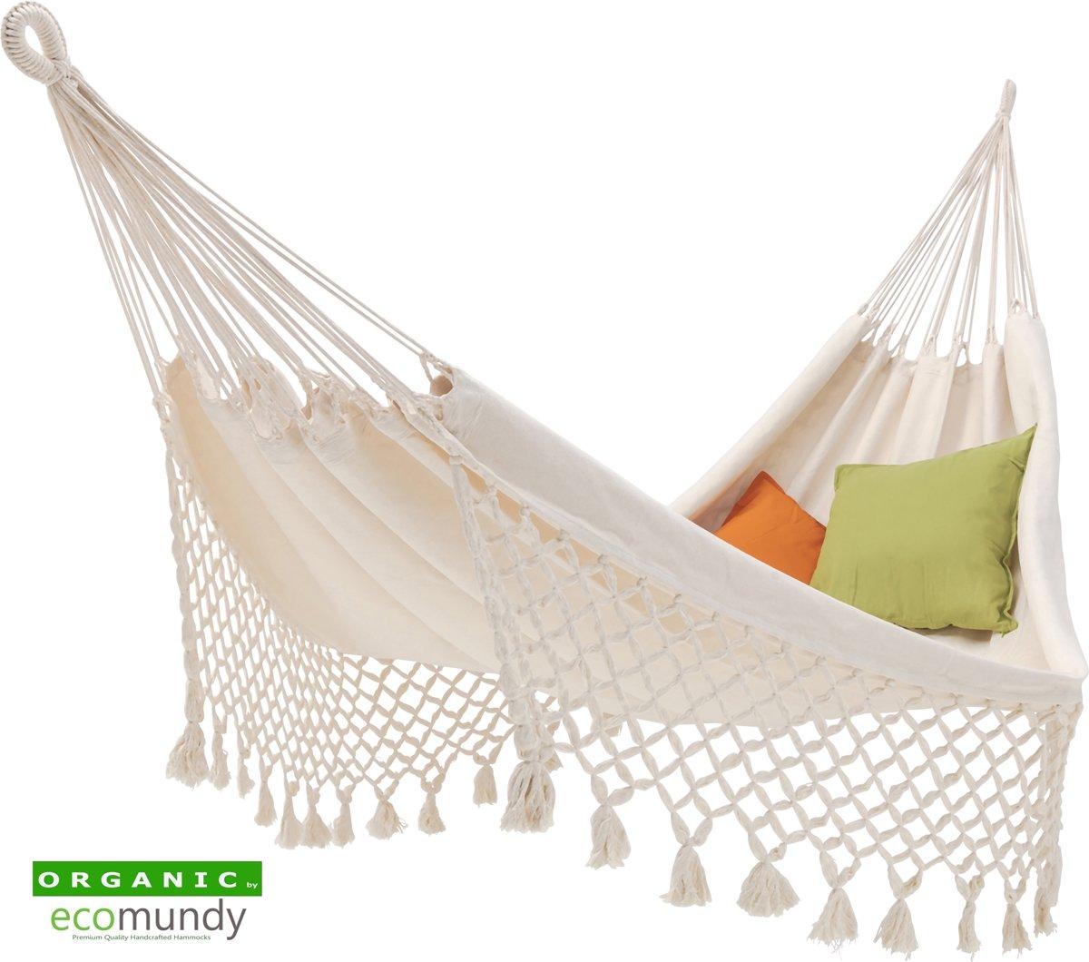 Luxe ecru kleurige hangmat met geknoopte franje - BIO katoen - Ecomundy Romance L (130x200x320cm)