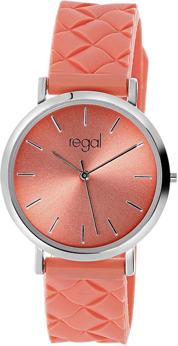 Regal - Regal horloge met koraal kleurige rubberen band kopen
