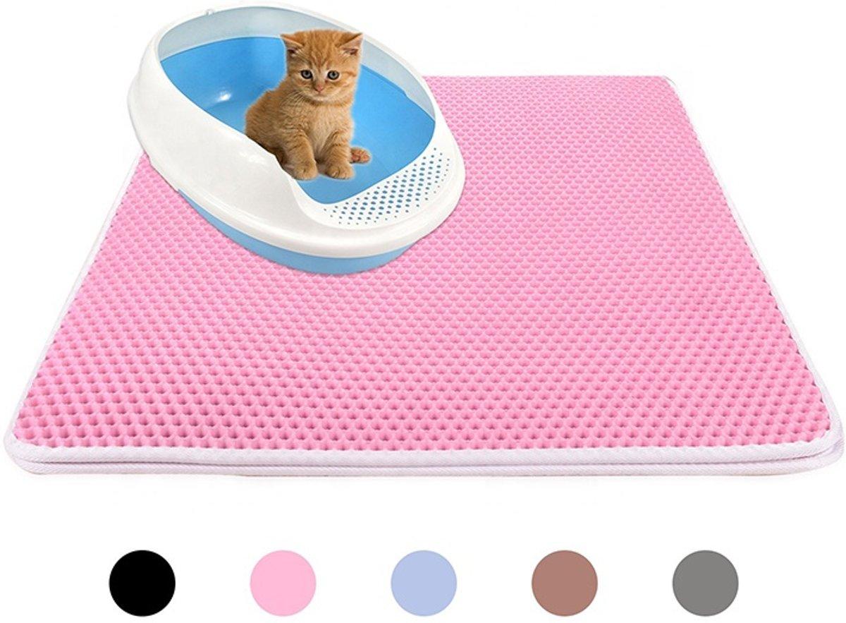 Handige Kattenbak Mat - Grit Opvanger - Dubbellaags & Waterdichte mat voor Katten - Katten Mat met Filter voor Grit - Kattenbak Mat voor Kattenbak - Roze kopen