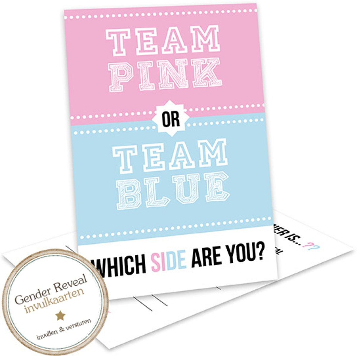 Baby Gender Reveal uitnodiging - Gender reveal party - invulkaarten - Team Pink or Team Blue - GR508 (12 stuks )