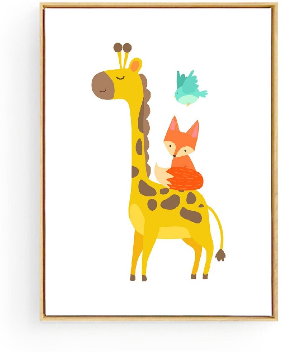 Postercity - Design Canvas Poster Giraffe met Dieren Vriendjes / Kinderkamer / Muurdecoratie / 40 x 30cm / A3 kopen
