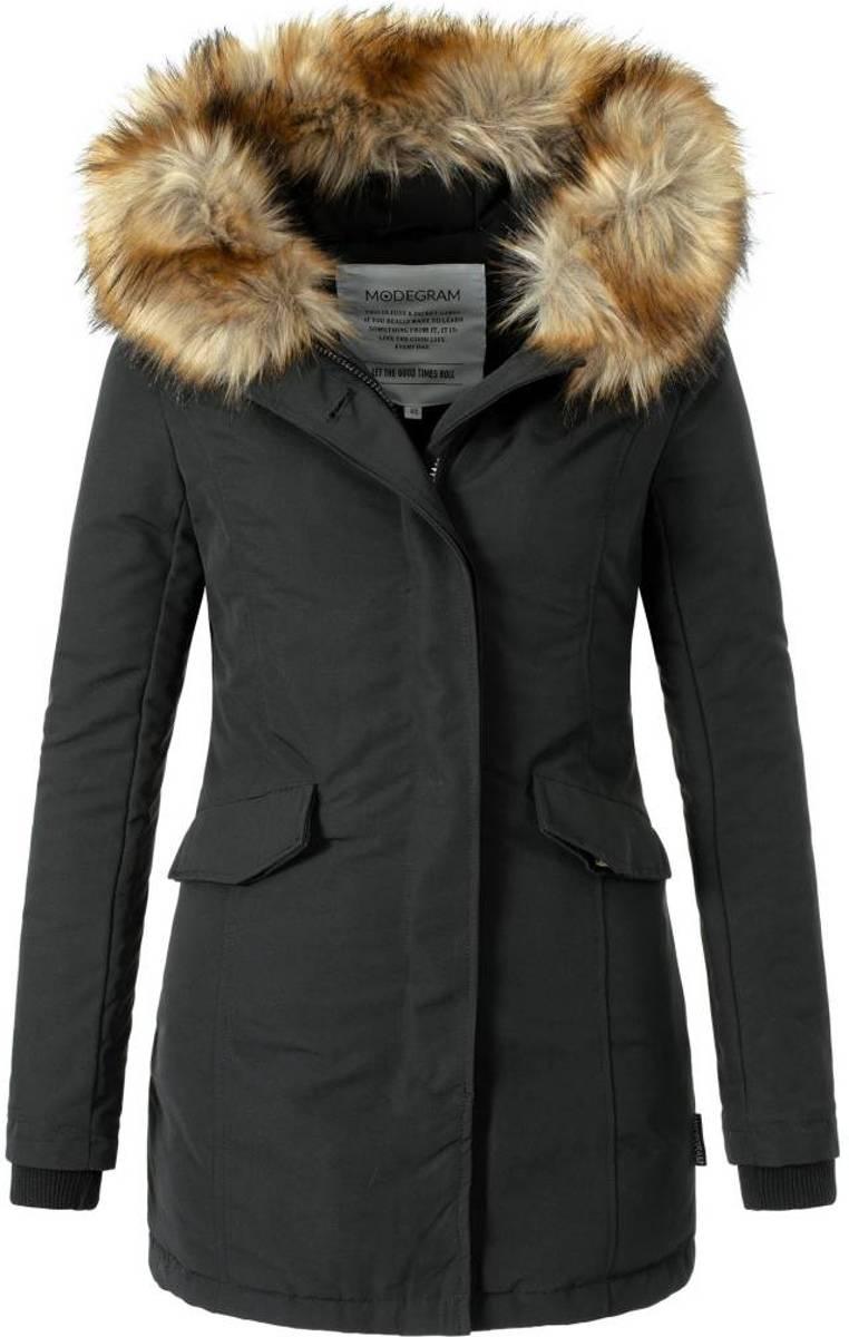 Warme Trendy Winterjas.Bol Com Modegram Dames Parka Winterjas Met Bontkraag Zwart
