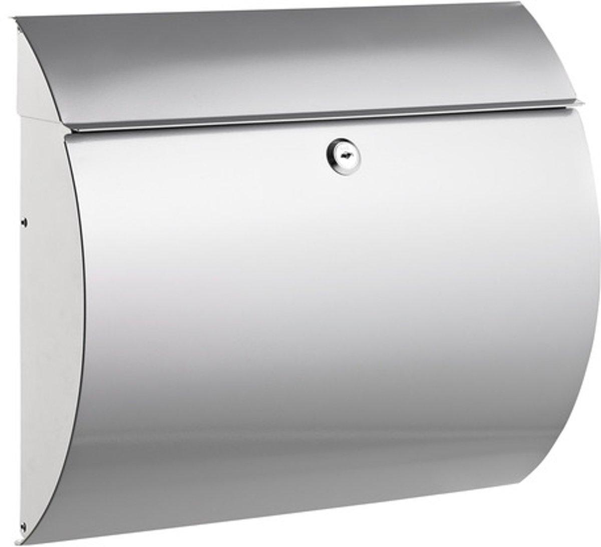 Brievenbus Alco zilver met slot 375x330x120mm