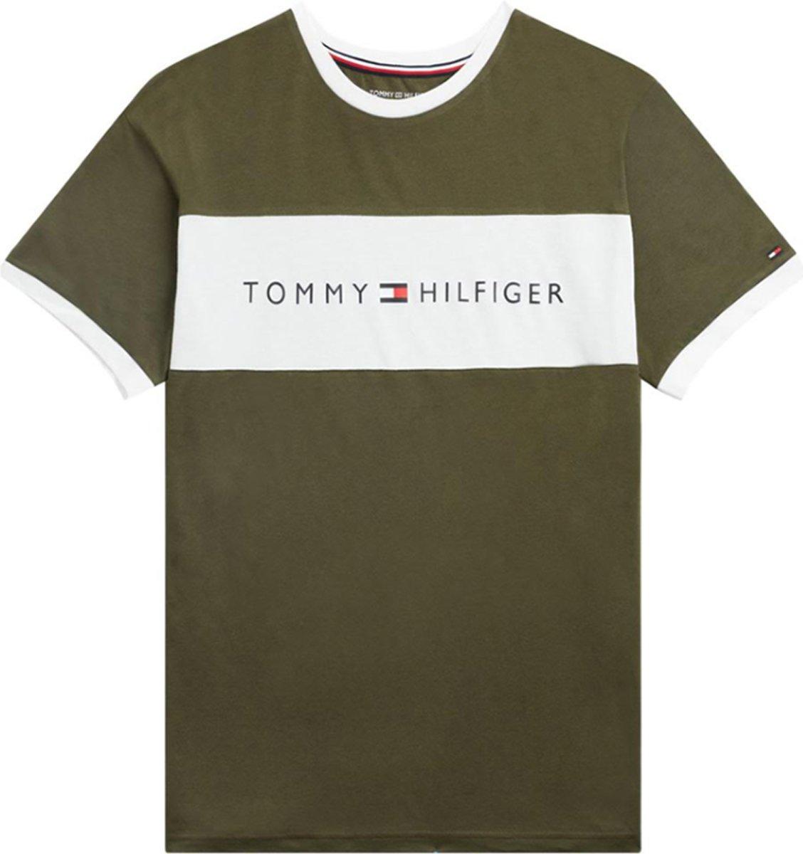 Tommy Hilfiger Heren Ronde Hals Logo Flag T Shirt Groen M