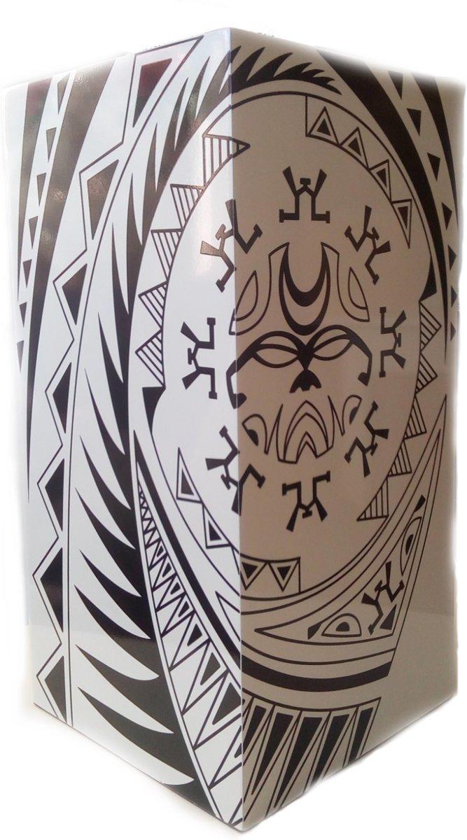 """Penez"" Zuil White with black pattern ( wit met zwart ontwerp) 30x30x60 cm HOUT kopen"