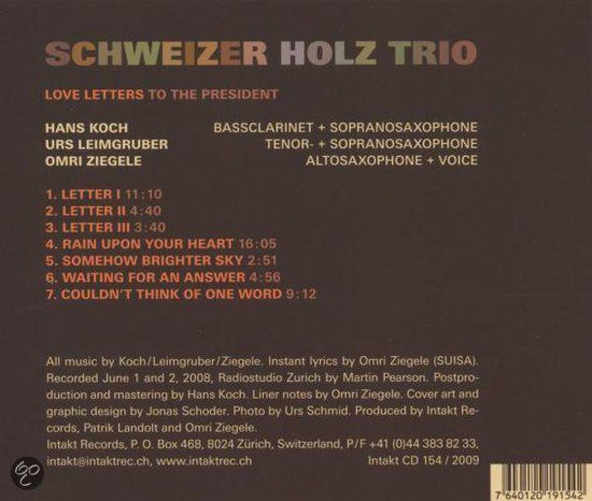Bol love letter to the president schweizer holz trio cd bol love letter to the president schweizer holz trio cd album muziek expocarfo Gallery