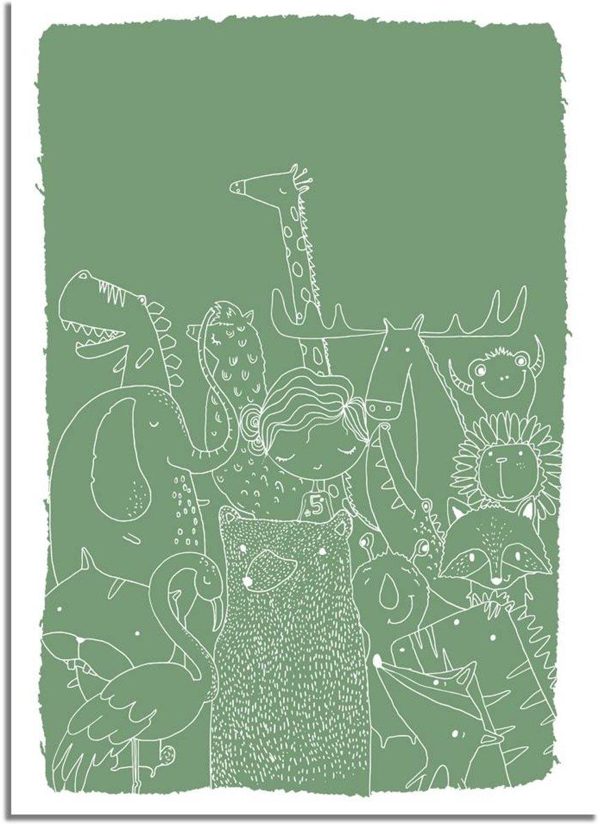 Kinderkamer poster Dieren DesignClaud- Groen- A4 + Fotolijst zwart kopen
