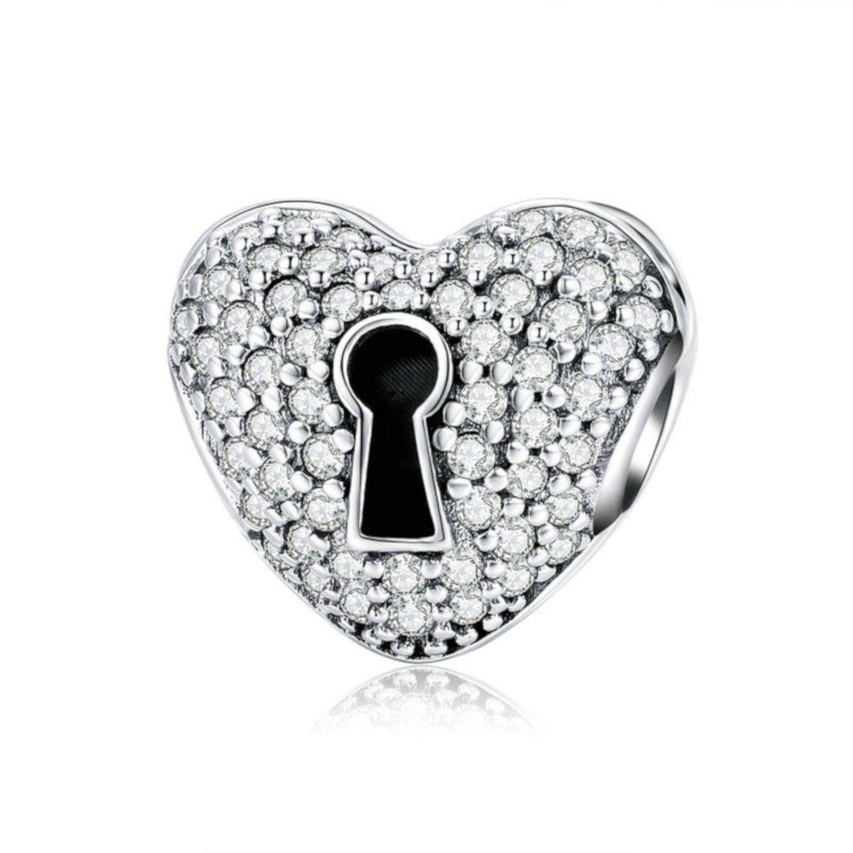 Zilveren clip Hart met slot kopen