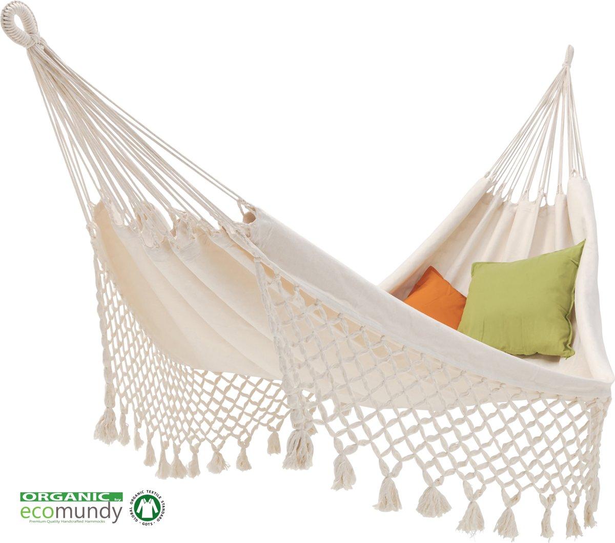 ECOMUNDY ROMANCE XL 380 WIT - Luxe klassieke hangmat met franje  - premium kwaliteit - biologisch katoen met  GOTS keurmerk - 160x260x380cm max 250kg