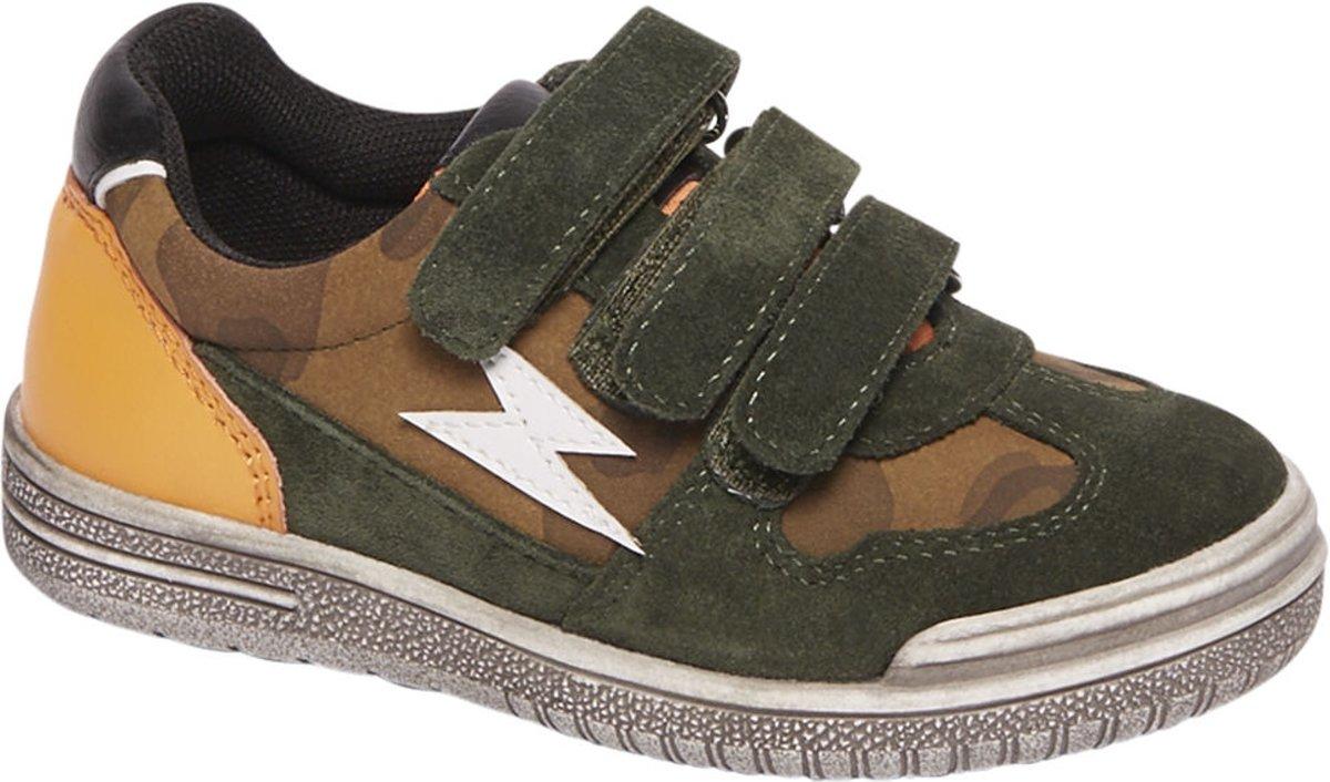 Bobbi-Shoes Kinderen Groene leren sneaker klittenbandsluiting - Maat 28 kopen