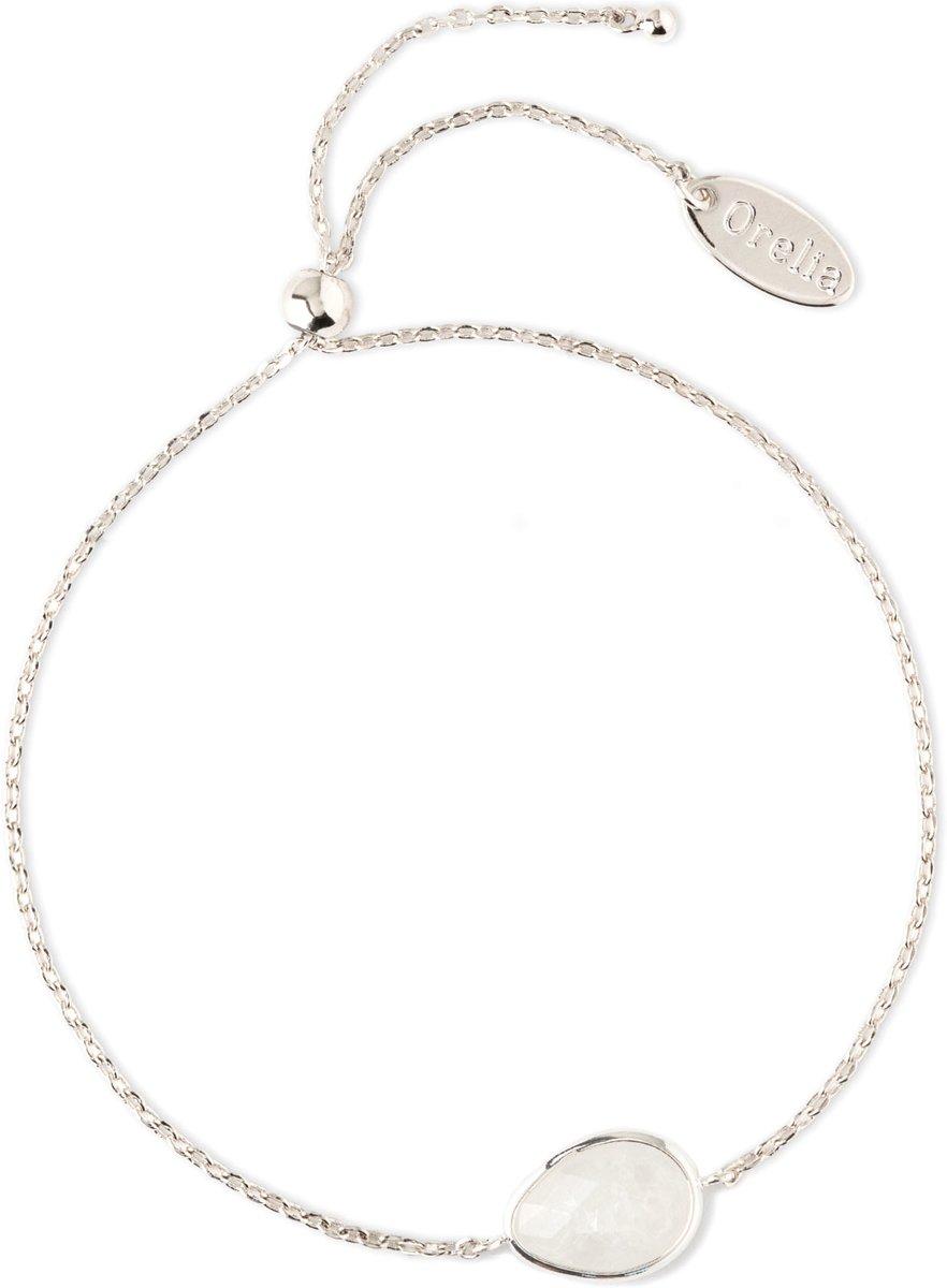 Orelia armband met druppelvormige grijsblauwe steen zilverkleurig