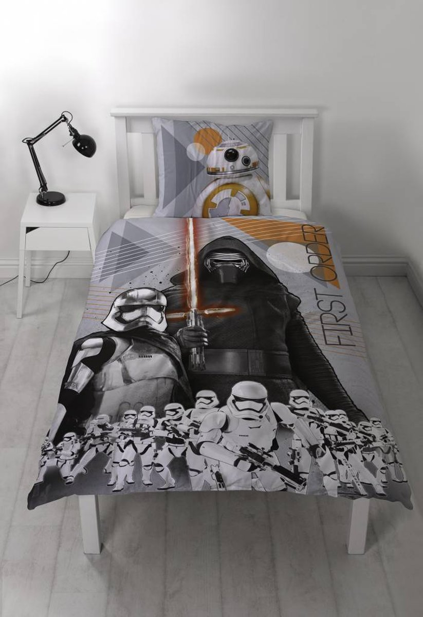 Disney Star Wars Epic 7 First - Flanel Dekbedovertrek - Eenpersoons - 140x200 + 1 kussensloop 60x70 - Grijs kopen