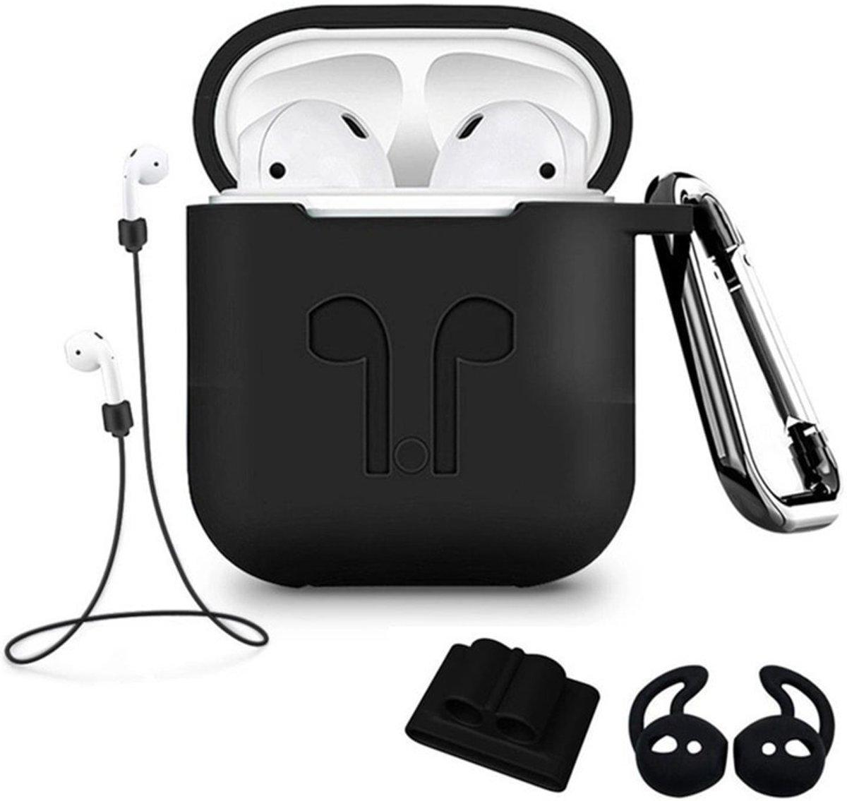 Siliconen Case Cover voor Apple Airpods - 5 in 1 set met Anti Lost Strap en Haak - Zwart kopen