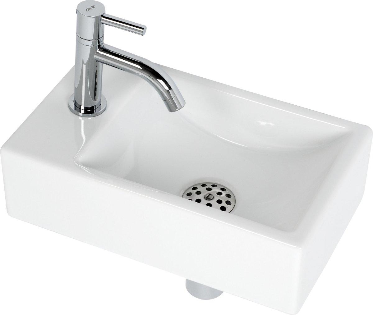 Plieger Austin Fontein Toilet Links - Set - Fontein 37 x 23 cm inclusief fonteinkraan en sifon - Keramiek - Wit kopen