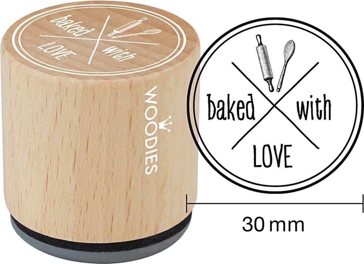 Afbeelding van product Houten stempel, d: 30 mm, h: 35 mm, baked with LOVE , 1stuk
