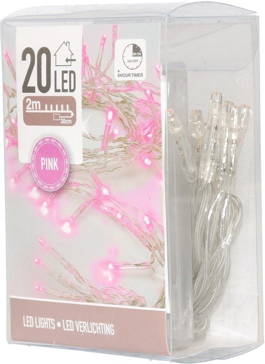Clusterverlichting op batterij roze binnen kopen