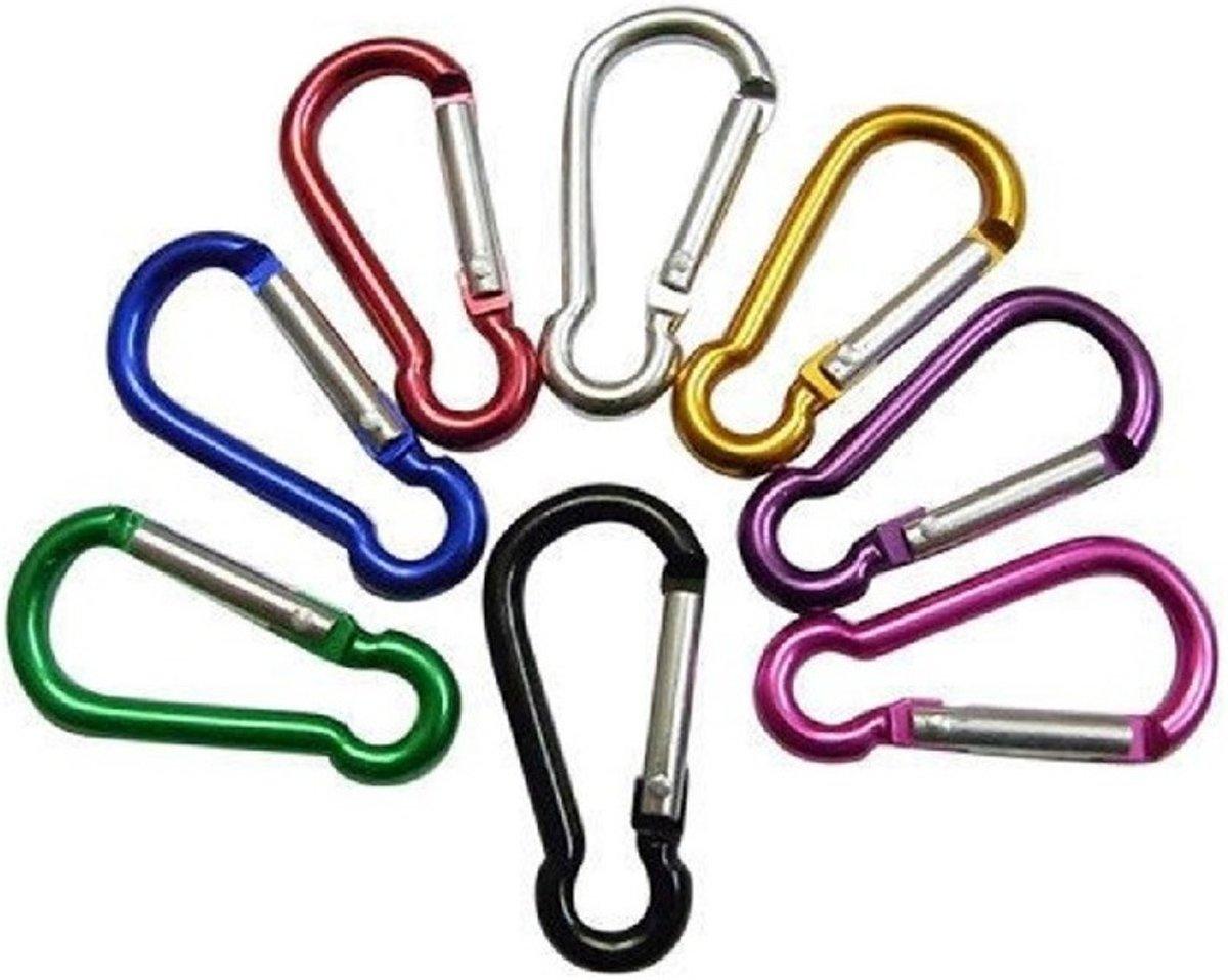Gekleurde karabijnhaken mini 8 stuks - carabiners / festonhaak