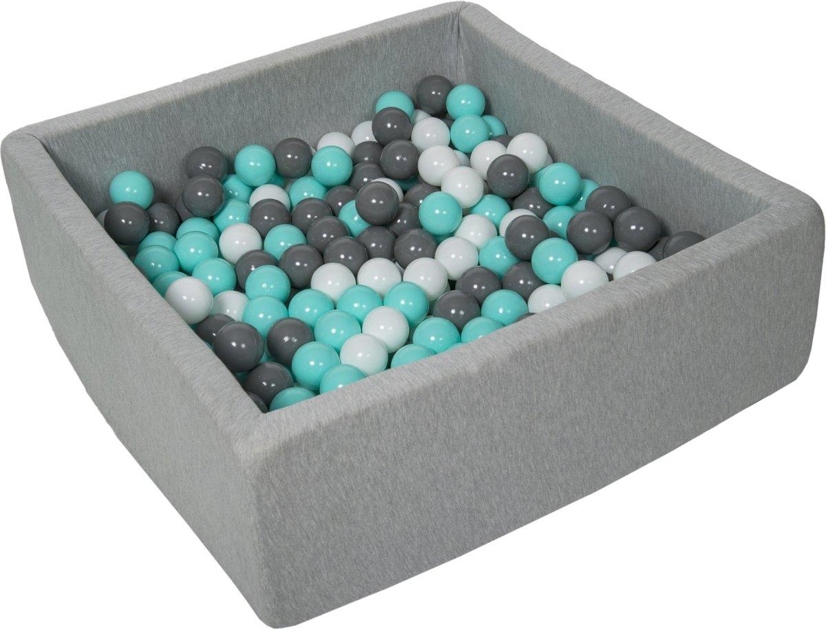 Zachte Jersey baby kinderen Ballenbak met 300 ballen, 90x90 cm - wit, grijs, turkoois